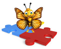 Fun Butterfly cartoon character  with puzzle Royalty Free Stock Photo