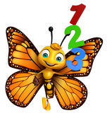fun Butterfly cartoon character with 123 sign Royalty Free Stock Photos