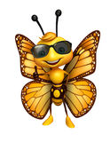 Fun Butterfly cartoon character with sunglass Stock Image