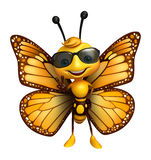 Fun Butterfly cartoon character with sunglass. 3d rendered illustration of Butterfly cartoon character with sunglass Royalty Free Stock Photography
