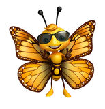 Fun Butterfly cartoon character with sunglass Royalty Free Stock Images