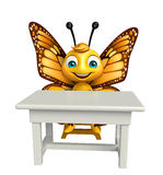 fun Butterfly cartoon character with table and chair Royalty Free Stock Images