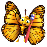 fun Butterfly cartoon character with tooth brush Stock Images