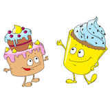 Fun cakes characters. Fun cakes  Cartoon Character Design. Vector Illustration Stock Photography