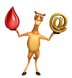 Fun Camel cartoon character with blood drop and at the rate sign Stock Images