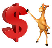 Fun Camel cartoon character with doller sign Royalty Free Stock Photo