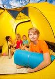 Fun in camping tent Stock Photos