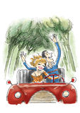 Fun in car. A happy couple having fun and driving a car royalty free illustration