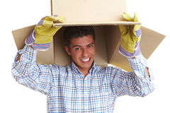 Fun with cardboard boxes Royalty Free Stock Images