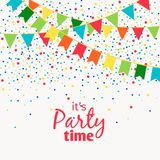 Fun carnaval garlands with flags isolated on white background for party design. Fun carnaval garlands with flags isolated on white background with polka dot royalty free illustration