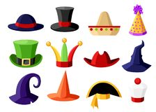 Fun carnival festive collection of cute celebration and disguise hat  illustration isolated on white background website page. And mobile app design Stock Photos