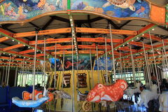 Fun carousel ride with whimsical creatures,Cleveland Zoo,Ohio,2016. Fun scene with whimsical creatures for children to ride,Cleveland Zoo,Cleveland,Ohio,2016 stock images