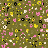 Fun cartoon abstract art retro seamless pattern. With cute characters vector illustration