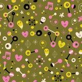 Fun cartoon abstract art retro seamless pattern Stock Photography
