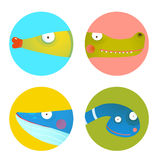 Fun Cartoon Animals Icons Collection for Kids Design Royalty Free Stock Photography