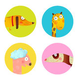 Fun Cartoon Baby Animals Icons Collection Set for Children Design. Set of round circle icons with for children. Wildlife signs set. Vector EPS10 Royalty Free Stock Images