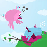 Fun cartoon of a bird returning to a drunk mate Royalty Free Stock Photo
