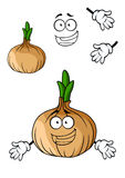 Fun cartoon brown onion vegetable Stock Photo