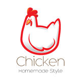 Fun cartoon chicken  icon illustration Royalty Free Stock Photos