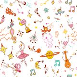 Fun cartoon comic characters pattern Stock Photos