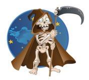 Fun cartoon death on a night sky background stock photo