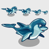 Fun cartoon Dolphins different size. Character for your design needs vector illustration