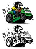 Cartoon racing lawnmower vector illustration. Fun cartoon illustration of a person popping a wheelie on a very fast riding lawn mower royalty free illustration