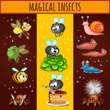 Fun cartoon insects mutants, bees, spiders, slugs Stock Photography