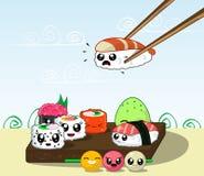 Fun cartoon Japanese cuisine, food. Royalty Free Stock Photos