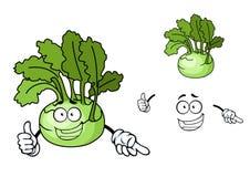 Fun cartoon kohlrabi vegetable Stock Photography