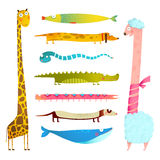 Fun Cartoon Long Animals Illustration Collection for Kids Design Royalty Free Stock Image