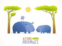 Fun Cartoon Mother and Child African Hippopotamus Stock Photo