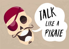 Fun cartoon skull saying Talk like a pirate. Holiday card to Talk Like a Pirate Day 1 Vector jolly Roger. Royalty Free Stock Images