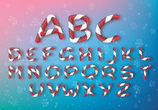 A set of multi-colored caramel letters. Bright vector New Year`s font. Striped cartoon alphabet. royalty free illustration