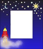 Rocket taking off with message board. Fun cartoon style rocket blasting off with stars, sun, and moon. Center of page is blank for use as a letter, message, ad Stock Image