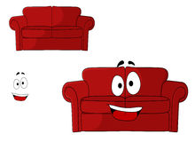 Fun cartoon upholstered red couch Royalty Free Stock Photos