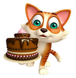 Fun cat cartoon character with cake Stock Image