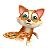 Fun cat cartoon character with pizza Stock Images