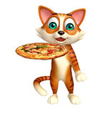 Fun cat cartoon character with pizza Stock Photo