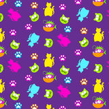 Fun cat and fish pattern with trace print Royalty Free Stock Photography
