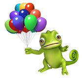 Fun Chameleon cartoon character with ballons. 3d rendered illustration of Chameleon cartoon character with ballons Royalty Free Stock Photos