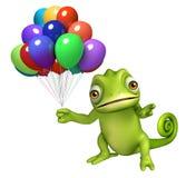 Fun Chameleon cartoon character with ballons Royalty Free Stock Photos