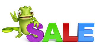 Fun Chameleon cartoon character with big sale sign Stock Photos