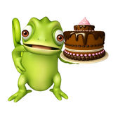 Fun Chameleon cartoon character with cake Stock Photography