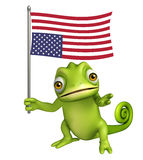 Fun Chameleon cartoon character with flag. 3d rendered illustration of Chameleon cartoon character with flag Royalty Free Stock Photos