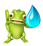 Fun Chameleon cartoon character with water drop Royalty Free Stock Photo