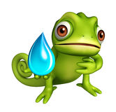 Fun Chameleon cartoon character with water drop Stock Photography