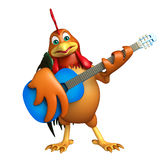 Fun Chicken cartoon character  with guitar Royalty Free Stock Photos
