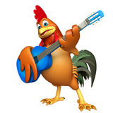 Fun Chicken cartoon character  with guitar. 3d rendered illustration of Chicken cartoon character  with guitar Royalty Free Stock Photos