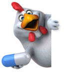 Fun chicken - 3D Illustration Stock Photography